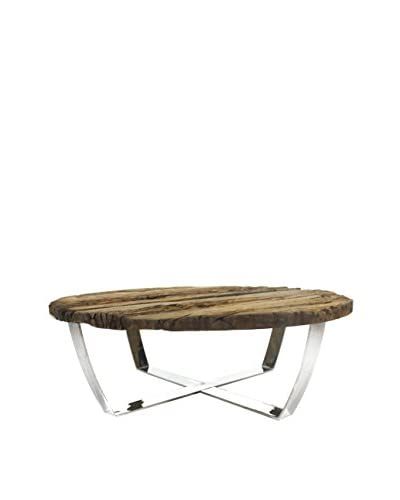 Keaton Railroad Center Table, Brown/Silver