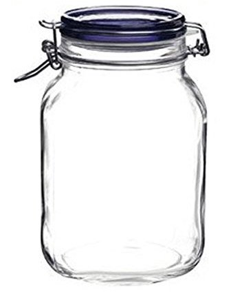 Bormioli Rocco Fido Square Jar with Blue Lid - 67.75 Ounce