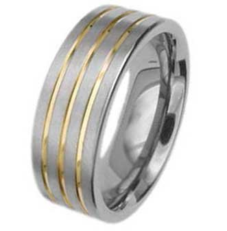 8MM Polished Titanium Wedding Band With Three Gold Plated Grooves