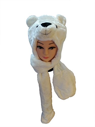 Super Soft Plush Polar Bear Animal Hat with Paws (Hand Pockets) - Stylish and Amazingly Comfortable Thick Warm Hati-mal with Ear Flaps and Hand Pocket (Glove / Mitten) that Doubles as a Scarf - Best High Quality Faux Fur Material for Fun Costume, Party, Cold, Winter Activities, Snowboarding, Snow Fighting, Novelty - Cute and Cuddly Favorite of Animal Lovers! Unisex and Great for Kids, Teens and Adults. Read more below...