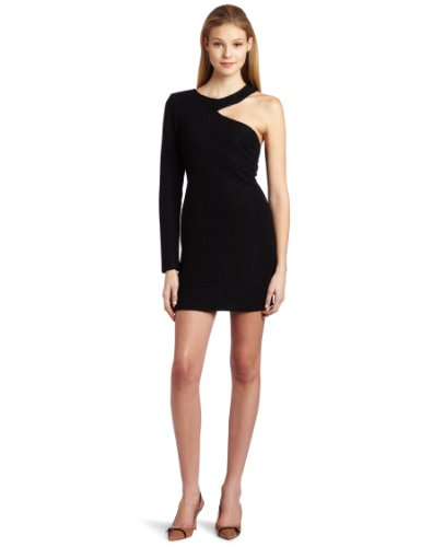 BCBGeneration Women's One Sleeve Cut Out Dress, Black, XX-Small