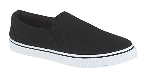 Uomo con Lacci Slip On Pompe scarpe sneaker Espadrilles Scarpe Tela Bambino, taglia adulto UK 7-12, (Slip On - Black), 44
