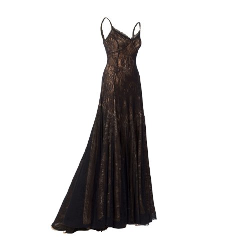 Gorgeous Special Occasion Long Black Dress Designed by Michal Negrin with Fine Lace Accents - Size L