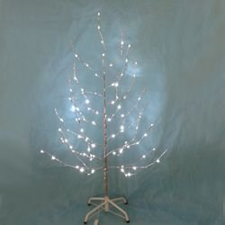 Kurt Adler Silver Twig Tree With Led Twinkle Lights, 4-Feet