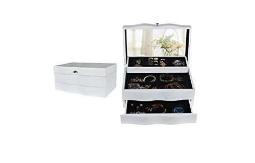 """White Color 5.1"""" X 10.5"""" X 6.5 """" 3 Drawer Mirrored Jewelry Box Organizer Storage Hold Rack Makeup Cabinet (White) front-395963"""