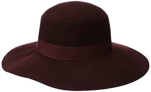 D&Y Women's Wool Felt Floppy Hat with Ribbon, Burgundy, One Size