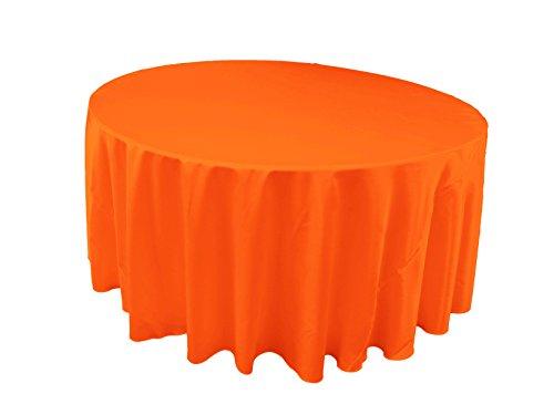 LA Linen Bridal Satin Round Tablecloth, 120-Inch, Orange (Orange Cloth Dye compare prices)