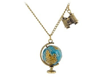 Bronze Alloy Binoculars &Amp- Globe Pendant Necklace