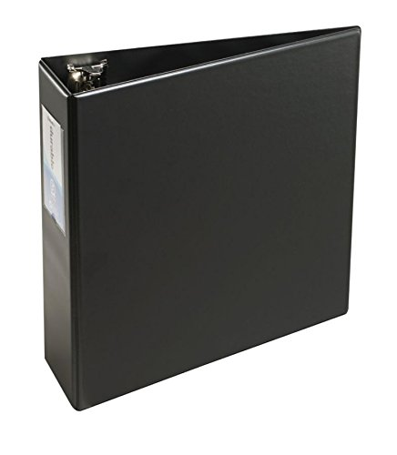OfficeMax Durable Reference Binders with Label Holders Round Ring 3, Black