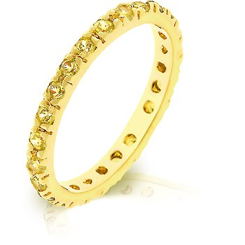 14k Gold Bonded Eternity Bridal Ring with Channel Set Champagne CZ