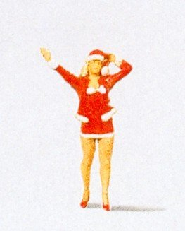 Female Santa Helper in Mini Skirt Christmas HO Preiser Models