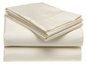 Solid Ivory 300 Thread Count Twin Extra Long Size Sheet Set 100 % Egyptian Cotton 3Pc Bed Sheet Set (Deep Pocket)Twin Xl
