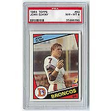 John Elway 1984 Topps Rookie Card #63 Graded Near Mint to Mint PSA-8