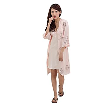 Bininbox Women's Vintage Floral Imitated Silk 2 PCS Sleepwear Nightgown Robes