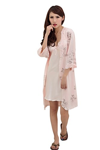 Bininbox Women's Vintage Floral Imitated Silk 2 PCS Sleepwear Nightgown Robes 0