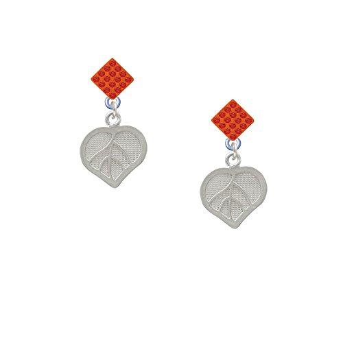 Heart Mesh Leaf - Orange Lulu Diamond-Shaped Earrings