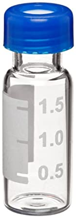 Wheaton W225163 Borosilicate Glass 1.8mL Vial with Writing Patch and 9mm Blue ABC Screw Cap, Amber (Case of 1000)