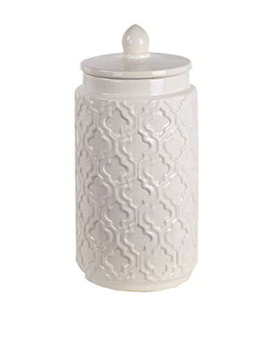 Privilege Large Ceramic Jar with Lid, White