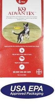 6 MONTH K9 ADVANTIX Red (for dogs 21-55lbs)