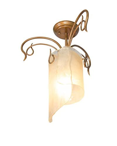 Varaluz Soho 1-Light Close To Ceiling, Hammered Ore/Brown Tint Ice Glass