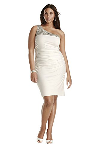 Jersey Beaded One Shoulder Short Plus Size Wedding Dress Style 261737DW,...