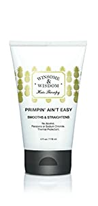 Primpin' Ain't Easy-Hair Straightening Serum for Curly Hair-4 fl Oz. Winsome & Wisdom-Alcohol Free Styling lotion -Paraben Free Blow Dry Lotion-Thermal Protectant straightening lotion-Cruelty Free