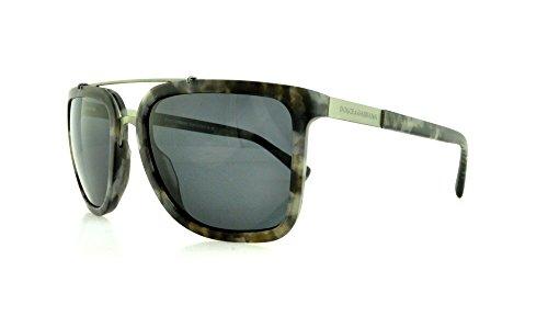 D&G Dolce & Gabbana Men'S Logo Plaque Square Sunglasses, Camouflage Matte Grey & Grey, 57 Mm