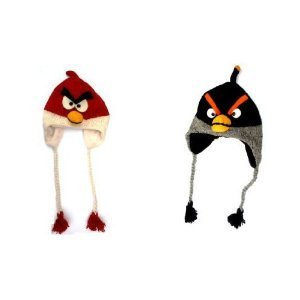 Angry RED and Black Bird Costume Animal Hat Wool Knit Aviator Beanie Cap Hat Combo Set of 2 / Hand Made in Nepal