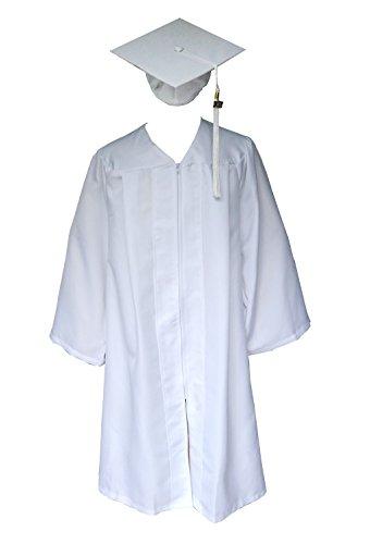 Matte Graduation Gown Cap Tassel 2016 2017 Unisex Grad Days(White51) (Graduation Cap And Gown For Kids compare prices)