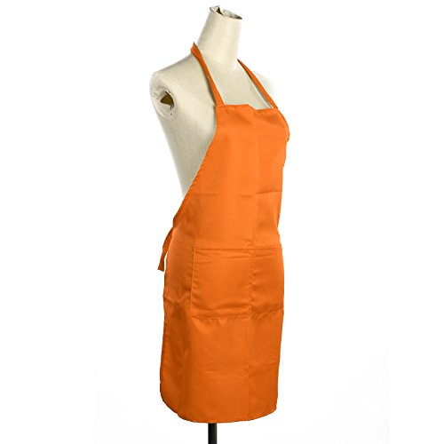 celldeal-plain-apron-two-front-pocket-chefs-butchers-kitchen-cooking-craft-baking-orange