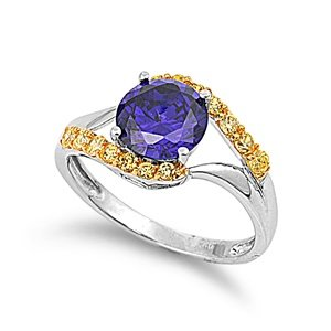Sterling Silver Engagement Promise Ring with Yellow and Amethyst Cubic Zirconia Stones-size7