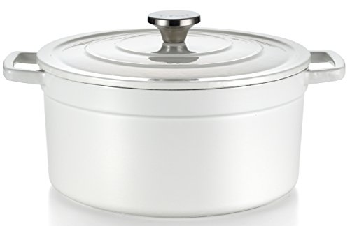 T-fal E63046 Enamel Cast Iron Nonstick Dishwasher and Oven Safe Stock Pot Cookware, 6-Quart, White (White Cast Iron Pot compare prices)