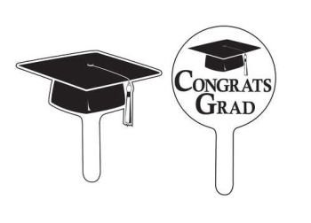 Cupcake Picks, Black Mortarboard
