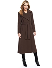 M&S Collection Wool Rich Long Belted Wrap Coat with Cashmere