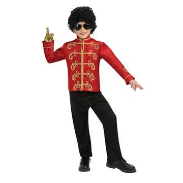 Michael Jackson Costume, Child's Deluxe Military Jacket, Red Costume