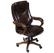 Lane Executive Leather Office Chair with Padded Handle & Waterfall Seat