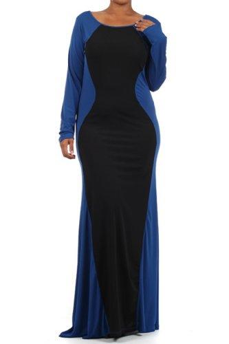 Plus Two Tone Color Block Slimming Long Sleeve Maxi Long Dress - Royal Blue - 1X