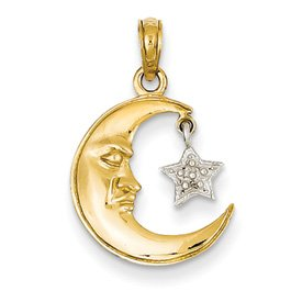 Genuine IceCarats Designer Jewelry Gift 14K Two-Tone Polished Open-Backed Half Moon & Star Pendant