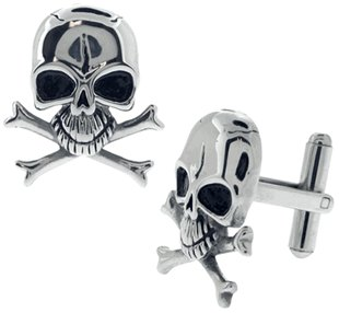 Stainless Steel Skull and Crossbones Cufflinks