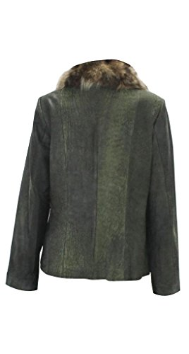 Bergama Lamb Leather/Suede Jacket with detachable Natural Raccoon Collar - Medium - Olive Green