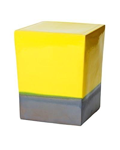 Seasonal Living 2-Glaze Ceramic Square Cube Stool, Yellow