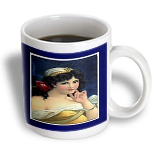 Florene Victorian Images - Pretty Victorian Lady On Navy Blue - 15Oz Mug (Mug_37385_2)