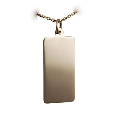 9ct Gold 26x13mm plain rectangular Disc with a cable Chain