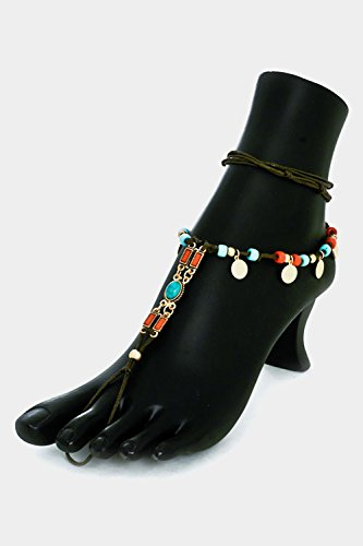 glitz-finery-accented-chord-beads-and-coin-disk-dangle-anklet-foot-jewelry-wi-turquoise-coral