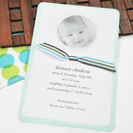 Limited Edition Baby Photo Announcement & Ribbon Kit Invitations *Set Of 50* (Blue) front-31579