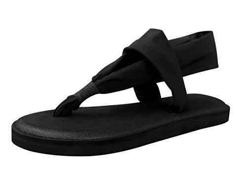 Santiro Black Flat Women Sandals Shoes Yoga Mat Sole Sling Thong Sandals Lightweight Slingback Flip-Flops SSD001B1-40