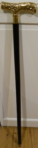 Victorian Style Wood Walking Stick ~ Cane with a Brass Handle