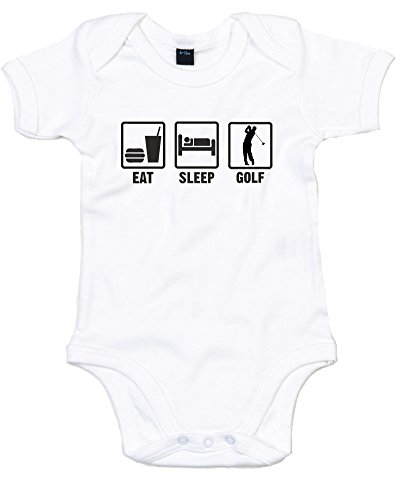 Eat Sleep Golf, Printed Baby Grow - White/Black 0-3 Months front-870083