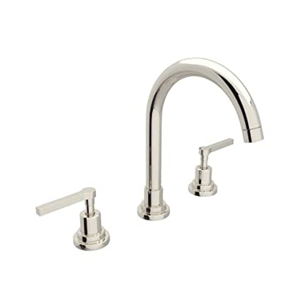 Rohl A2208LMPN-2 U.6955Eb A2208Lm-2 Lombardia Widespread Bathroom Faucet with Metal Lever Handles, Polished Nickel