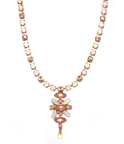 """Mariana Spirit of Design 24K Rose Gold Plated """"Tiara Day Collection"""" Swarovski Crystal Statement Pendant Necklace in White Opal/Frosted Peach"""